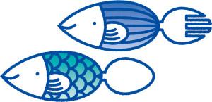 「サステナブル・シーフード・ウィーク」のロゴ。フォークとスプーンの形をした魚の愛称を、イベント会場で募集する