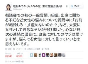 セクハラヤジを訴える塩村都議のツイッター投稿に、2万8千回以上のリツイートが