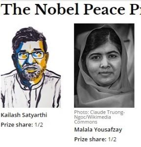 ノーベル平和賞を受賞したマララ・ユスフザイさん(右)とインド人のカイラシュ・サティヤティさん(ノーベル賞公式サイトから)