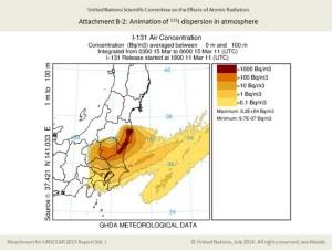 放射性物質が広範囲に拡散(UNSCEARにおけるヨウ素131の拡散評価、FoE Japanのサイトから引用)