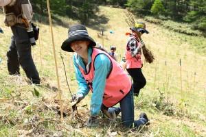 2014年5月の植林風景 女性や子どもも多く参加した