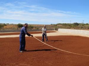 発酵して赤色に変わったルイボス茶をkの棒で天日乾燥させる。(南アフリカ北ケープ州で撮影)