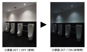 「ゼロエネルギー照明トイレ」。右が停電時(リクシル広報資料から引用)