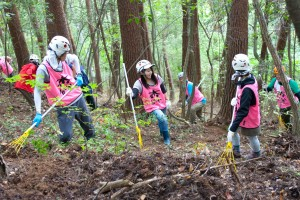 柴かき作業には多くの人手が必要(長野県伊那市・富県)
