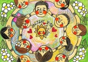 NPO法人チャレンジド・フェスティバルのシンボルマーク(笑顔の画家RIE・作)