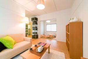 リノベーション済み部屋の広さは1LDK。友人・家族住まいも可能だ