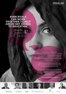 「教育」をテーマにした広告、このほかにも「健康」「気候変動」「安全な水」「飢餓」「貧困」「難民」のテーマ別に広告がつくられた。