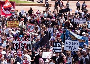 全国各地で何回にもわたって行われたTPPに反対するデモ。首都ウェリントンでの様子© Nell Ballantyne