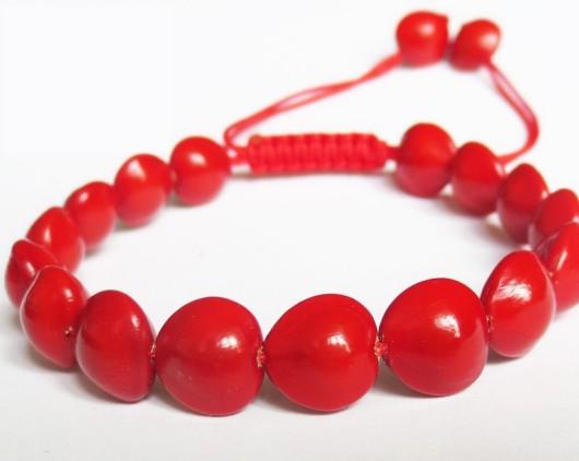 赤いラッキービーンズ(サンゴの木) ブレスレット(1連20P)