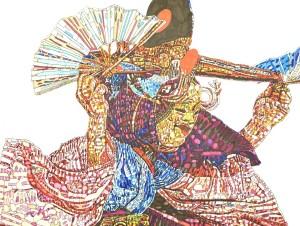 森田 守さんの作品「早池峰神楽~神舞~」。ペンで色彩豊かに精密に描いている