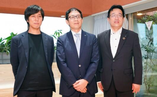 左から、デザインパートナーの建築家・川島範久氏、淺沼組の浅沼誠社長、同社名古屋支店の長谷川清支店長